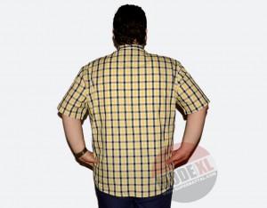 büyük beden erkek sarı kareli gömlek