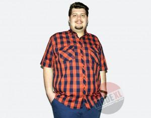 büyük beden erkek ekose oranj gömlek 2015