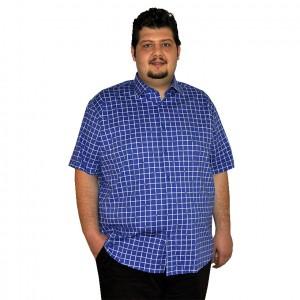 Büyük beden erkek gömlek kısa kollu indigo