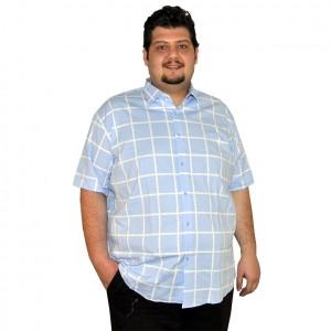 Büyük beden erkek gömlek ekoseli mavi